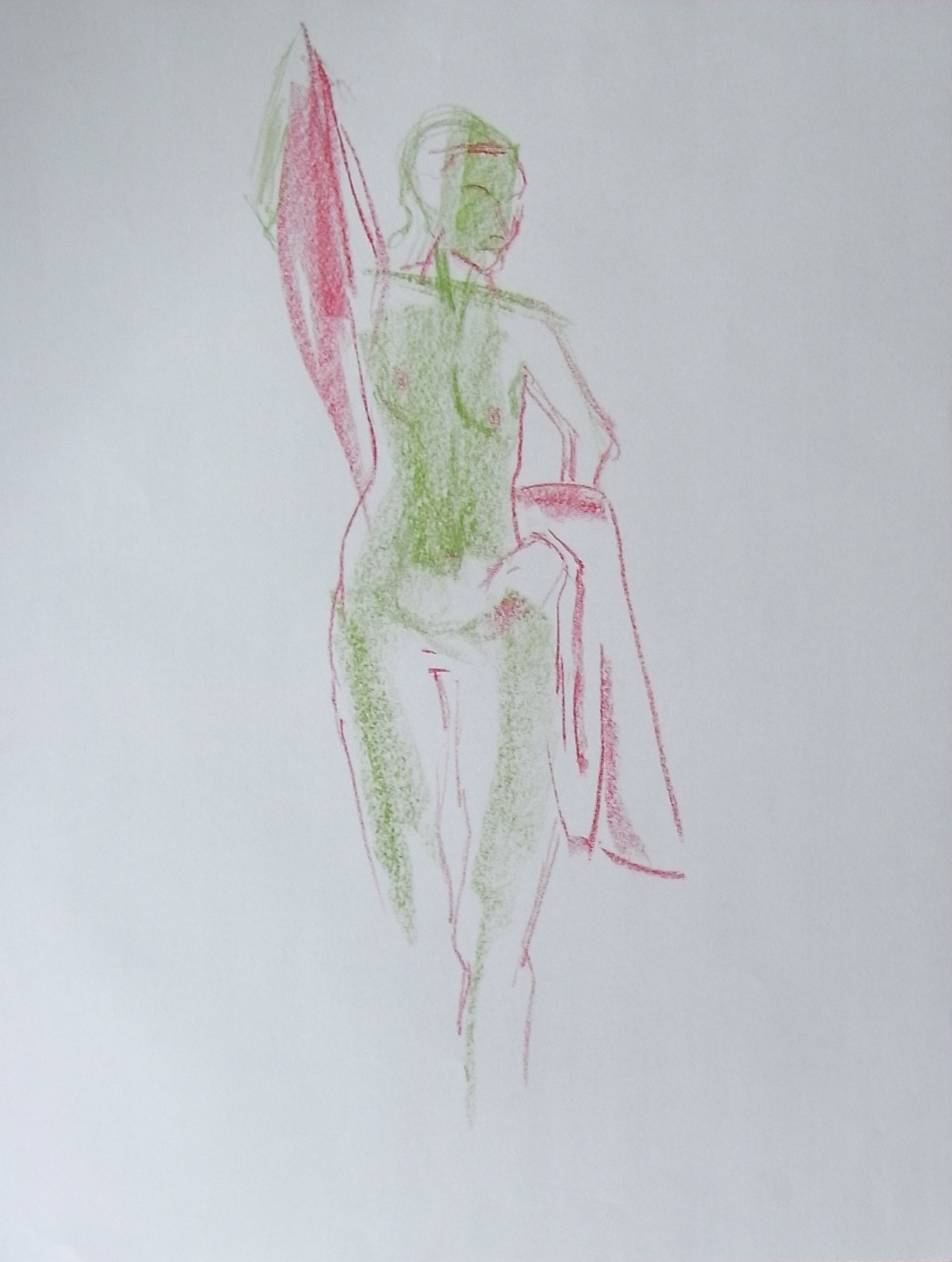 pastel drawing of a woman with a green body and red cloth.