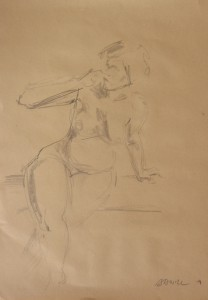 pencil drawing of a seated nude