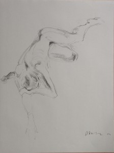 pencil drawing of a woman lying down.