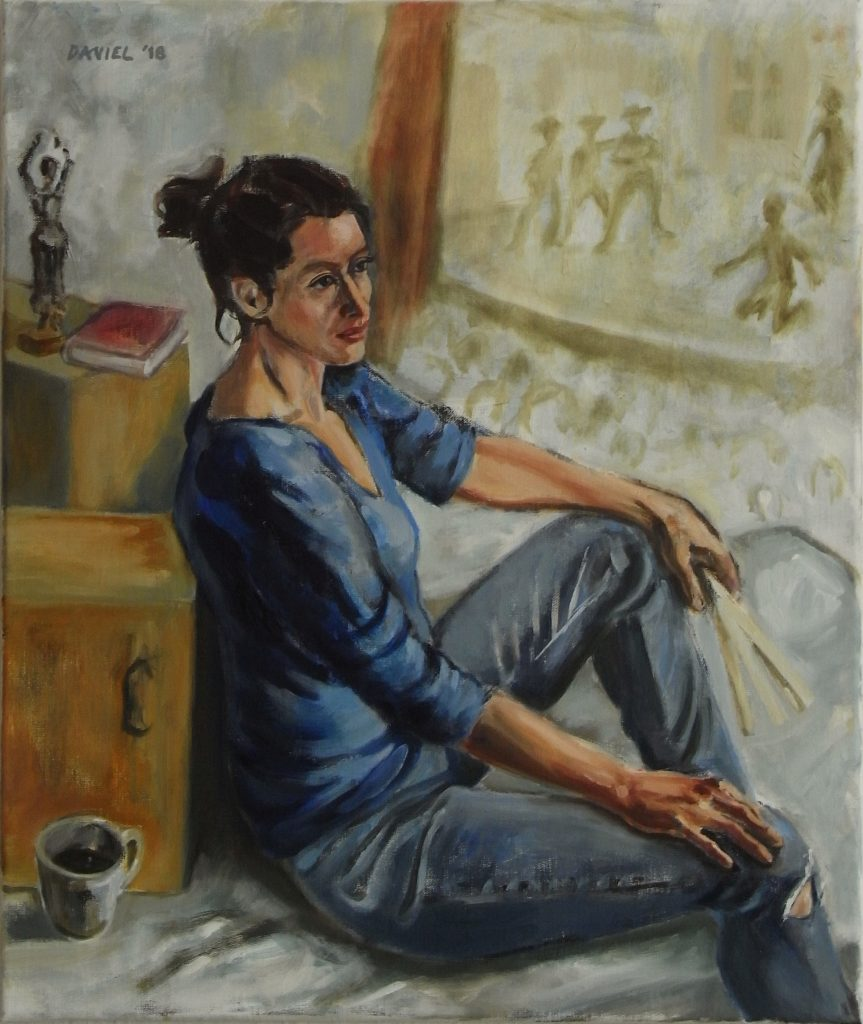 Painting of a woman leaning on a cardboard box